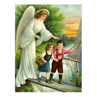 Guardian angel, children and bridge postcard