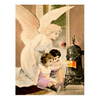 Guardian angel, children and fires postcard