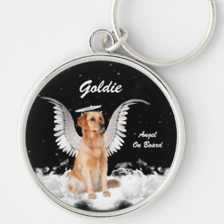Guardian Angel Dog Golden Retriever Silver-Colored Round Keychain