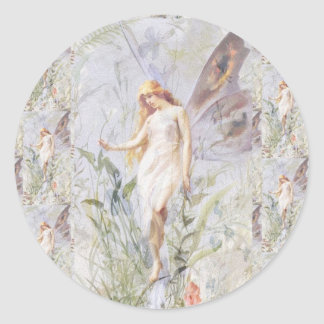 Guardian Angel & Flowers Classic Round Sticker