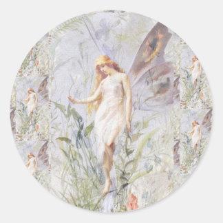 Guardian Angel & Flowers Round Sticker