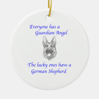 GUARDIAN ANGEL GERMAN SHEPHERD CERAMIC ORNAMENT
