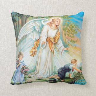 Guardian Angel Girl Boy Flowers Throw Pillow