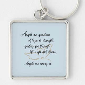 Guardian angel key chain... Silver-Colored square keychain
