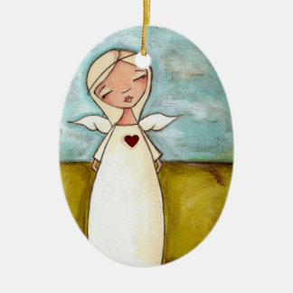 Guardian Angel - Oval Ceramic Ornament