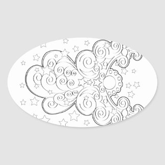 Guardian angel oval sticker