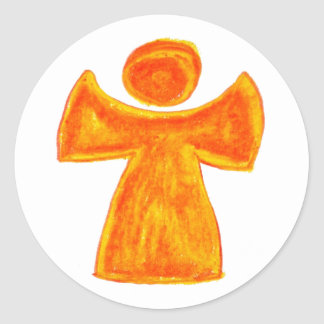 Guardian angel plaque round sticker
