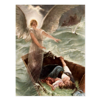 Guardian angel sea mother and child Karl Raupp Postcard