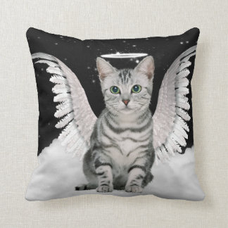 Guardian Angel Silver Tabby Cat Pet Lover Throw Pillow