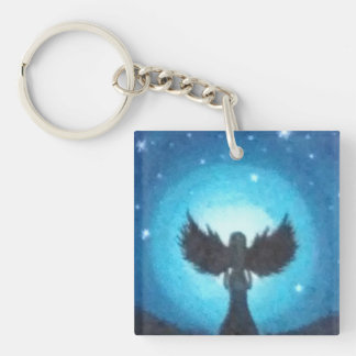 Guardian Angel Single-Sided Square Acrylic Keychain