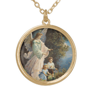 Guardian Angel with Children Gold Plated Necklace