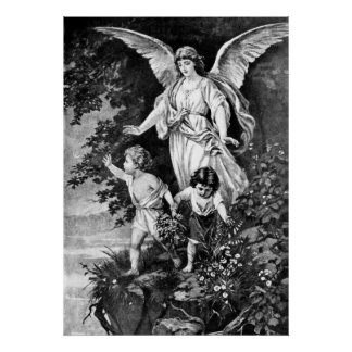Guardian Angel with Children Poster