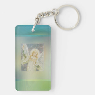 Guardian Angel with Green Border Keychain