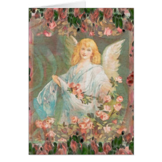Guardian Angel with Pink Roses Card