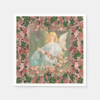 Guardian Angel with Pink Roses Disposable Napkins