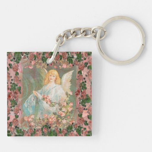 Guardian Angel with Pink Roses Acrylic Key Chain