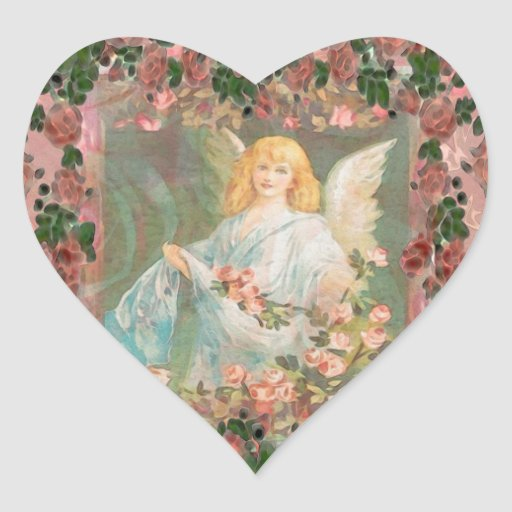 Guardian Angel with Pink Roses Sticker