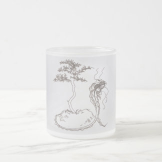 guardian dragon frosted glass mug