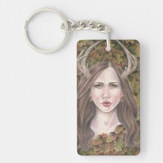 Guardian of the Oak by Deanna Bach Art Single-Sided Rectangular Acrylic Keychain