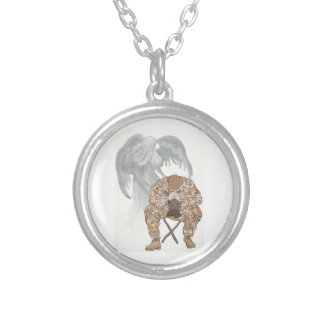 Guardian watching over a soldier silver plated necklace