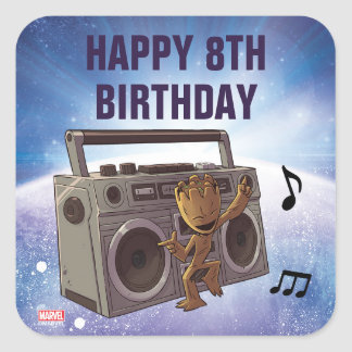 Guardians of the Galaxy Baby Groot Birthday Square Sticker