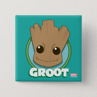 Guardians of the Galaxy   Baby Groot Face 2 Inch Square Button