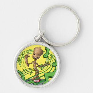 Guardians of the Galaxy | Baby Groot Music Notes Silver-Colored Round Keychain