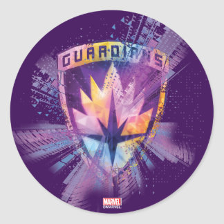 Guardians of the Galaxy | Crest Neon Burst Classic Round Sticker