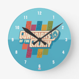 Guardians of the Galaxy | Crew Color Bar Logo Round Clock
