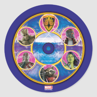 Guardians of the Galaxy | Crew In Neon Circles Round Sticker