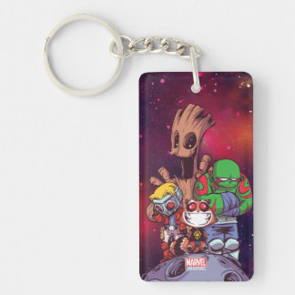 Guardians of the Galaxy | Crew On Asteroid Double-Sided Rectangular Acrylic Keychain