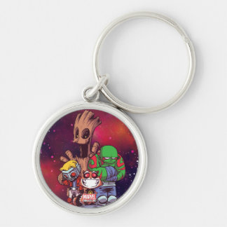 Guardians of the Galaxy | Crew On Asteroid Silver-Colored Round Keychain