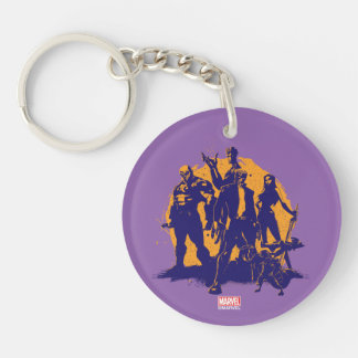 Guardians of the Galaxy | Crew Paint Silhouette Double-Sided Round Acrylic Keychain