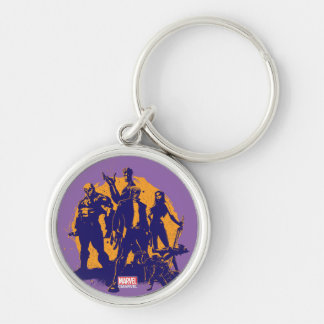 Guardians of the Galaxy | Crew Paint Silhouette Silver-Colored Round Keychain