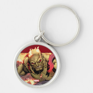 Guardians of the Galaxy | Drax In Flames Silver-Colored Round Keychain