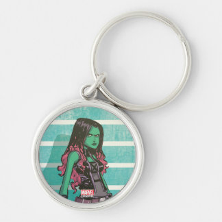 Guardians of the Galaxy | Gamora Mugshot Silver-Colored Round Keychain