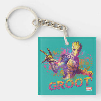 Guardians of the Galaxy | Groot Neon Graphic Double-Sided Square Acrylic Keychain
