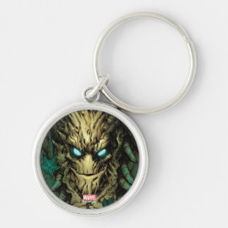 Guardians of the Galaxy | Groot Through Branches Silver-Colored Round Keychain