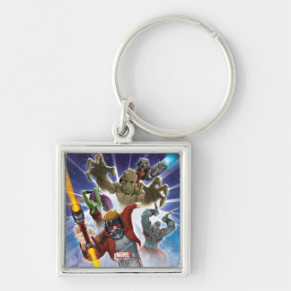 Guardians of the Galaxy | Group Attack Silver-Colored Square Keychain