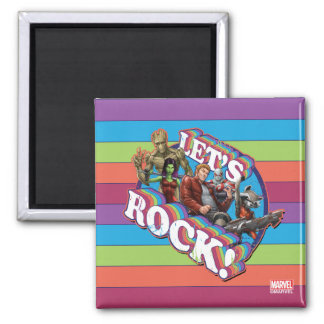 Guardians of the Galaxy   Let's Rock! Square Magnet