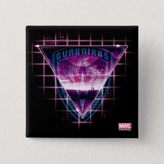 Guardians of the Galaxy   Neon Superimposed Logo 2 Inch Square Button