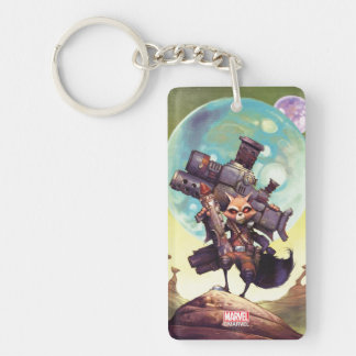 Guardians of the Galaxy | Rocket Armed & Ready Double-Sided Rectangular Acrylic Keychain