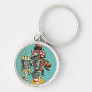 Guardians of the Galaxy | Rocket Full Blast Silver-Colored Round Keychain