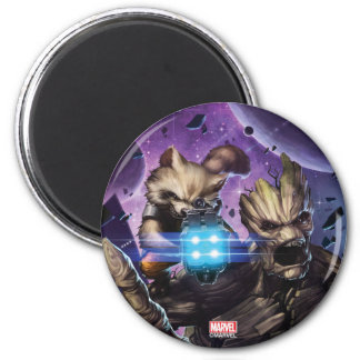Guardians of the Galaxy | Rocket & Groot Attack 2 Inch Round Magnet