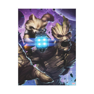 Guardians of the Galaxy | Rocket & Groot Attack Canvas Print
