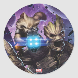 Guardians of the Galaxy | Rocket & Groot Attack Round Sticker