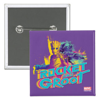 Guardians of the Galaxy | Rocket & Groot Neon Art 2 Inch Square Button