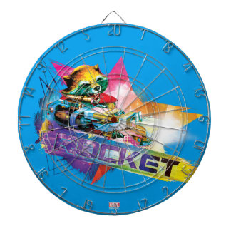 Guardians of the Galaxy | Rocket Neon Graphic Dartboard With Darts
