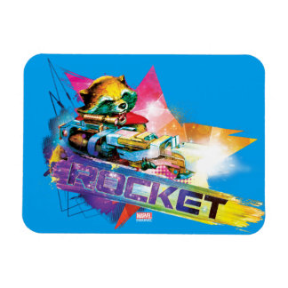 Guardians of the Galaxy   Rocket Neon Graphic Magnet