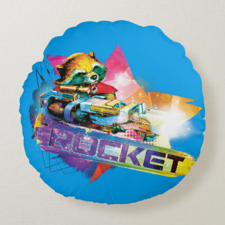 Guardians of the Galaxy | Rocket Neon Graphic Round Pillow